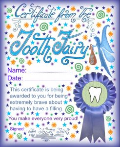 Printable certificate from the Tooth Fairy for a child who has to have a filling