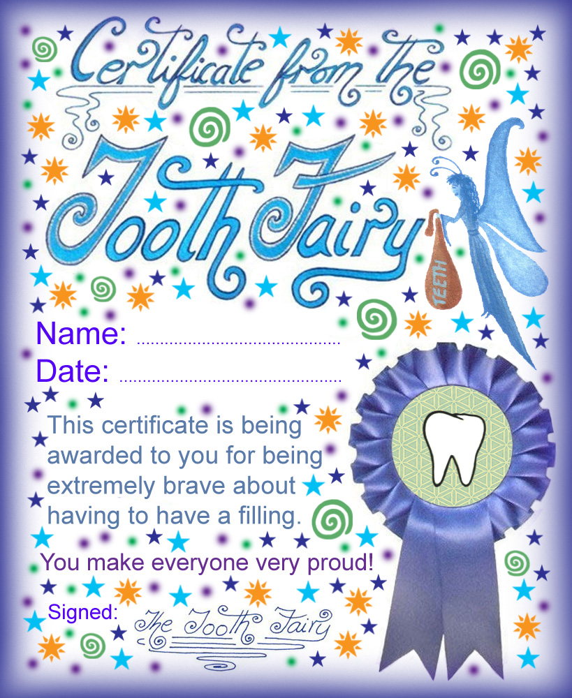 Tooth fairy certificate being brave about having a for Bravery certificate template