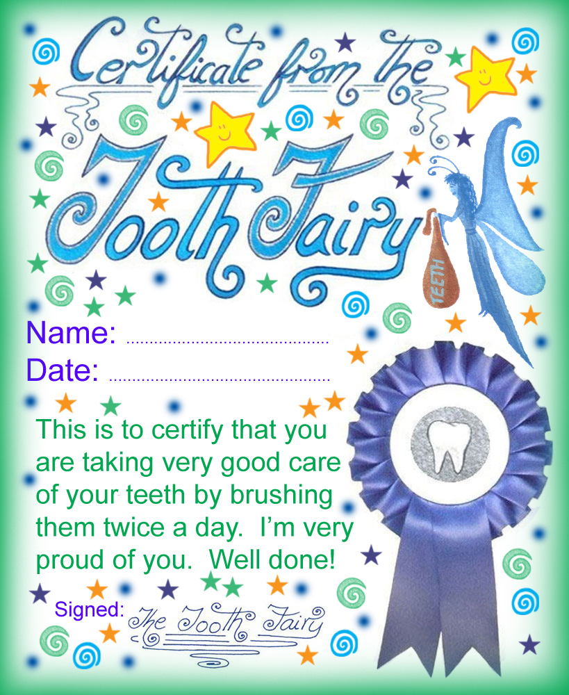 graphic regarding Printable Tooth Fairy Certificate referred to as Teeth Fairy Certification: Very well Carried out for Brushing Your Tooth