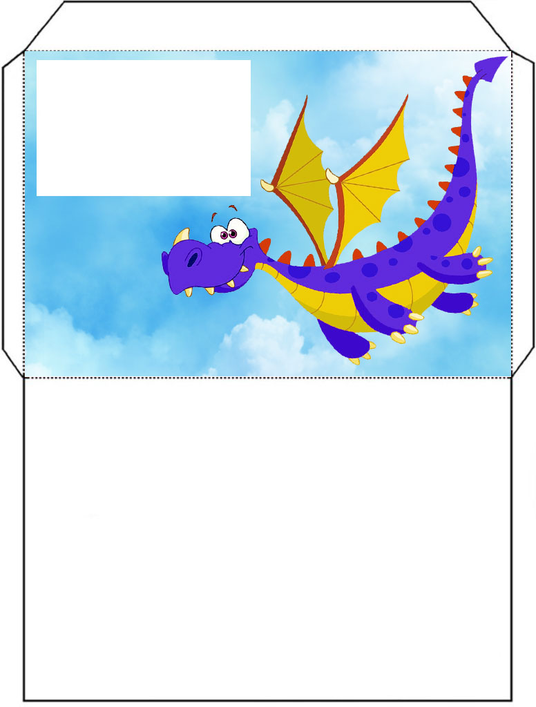 Printable envelope of a blue dragon flying through the sky.
