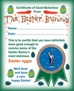 Certificate of good behaviour from the Easter Bunny