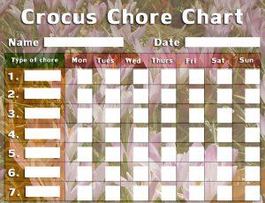 Children's chore chart with a crocus theme