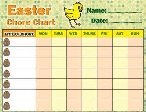 Children's Easter Chore Chart