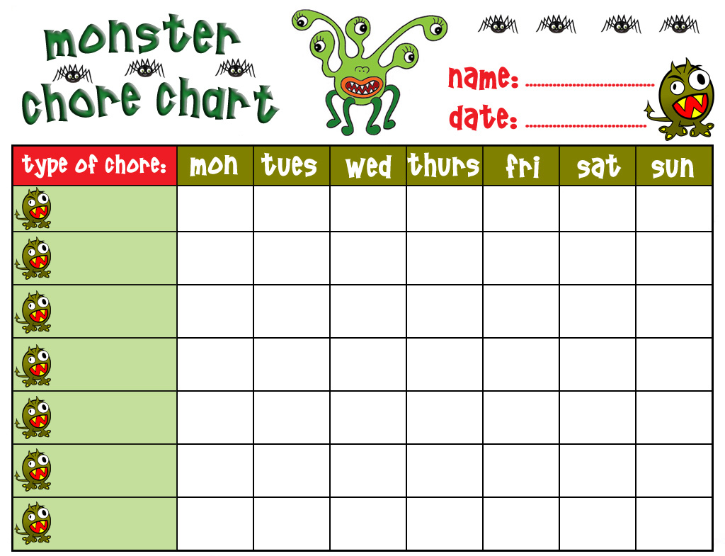 Exceptional Monster Chore Chart  Chore Chart Template Word