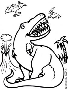 Printable colouring of a dinosaur having his teeth cleaned