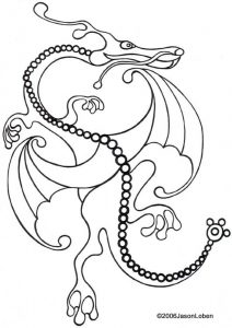 Printable picture to colour in of a dragon in flight, by Jason Loben