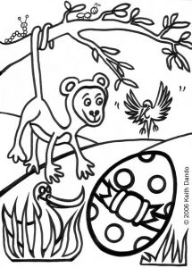 Colouring in picture of a monkey and an Easter egg by Keith Dando