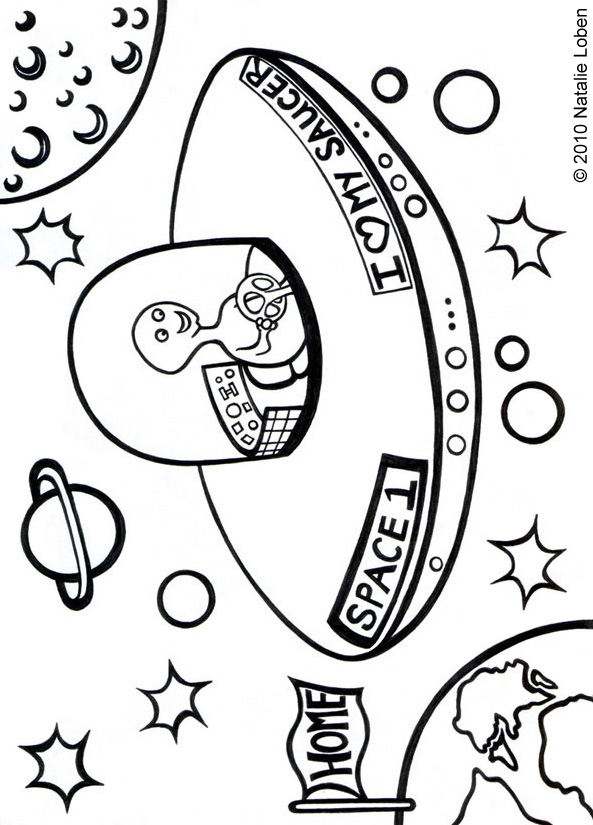 An alien is whizzing through space in his saucer - designed by Natalie Loben
