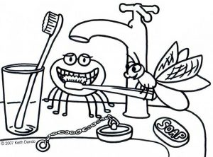 Printable colouring of a fly and a spider brushing their teeth