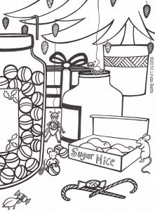 Colouring in page designed by Linda betts - Christmas Mice
