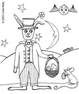 Colouring in page of the Easter Bunny