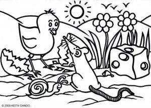 A children's colouring in page by Keith Dando - an Easter chick and Mr Rat