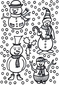 Four snowmen and a lot of snowflakes - designed by Linda Betts