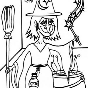 A witch brewing potions for Halloween!