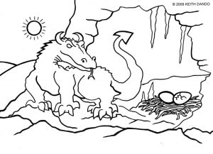 Colouring in picture of a dragon and her eggs by Keith dando