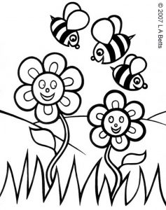 Colouring in picture of two spring flowers and three bees