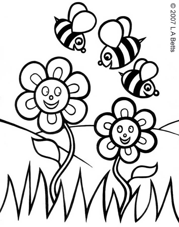 Printable colouring spring flowers rooftop post printables for Flower garden coloring pages printable