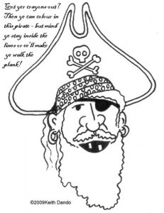 Printable colouring in page of a pirate by Keith Dando