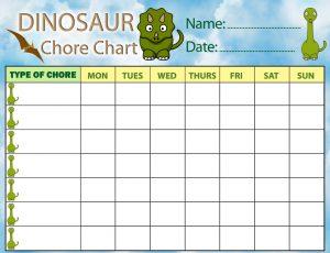 Printable dinosaur chore chart for children