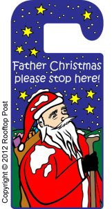 Printable door hanger asking Father Christmas to stop here