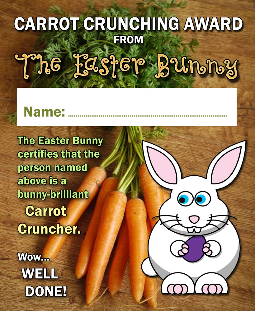 Easter Bunny certificate for a child who is good at eating carrots