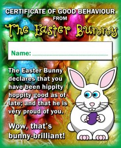 Certificate from the Easter Bunny for Good Behaviour