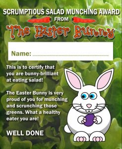 Certificate from the Easter Bunny for a child who is good at eating salad