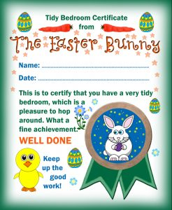 Certificate from the Easter Bunny for a Tidy Bedroom