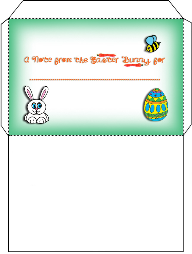 Printable envelope for notes or letters from the Easter Bunny