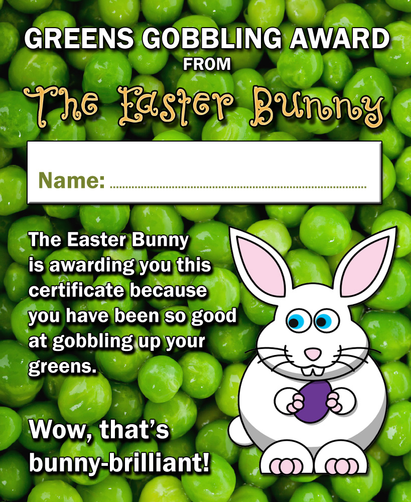 Certificate from the Easter Bunny for a child who is good at eating vegetables