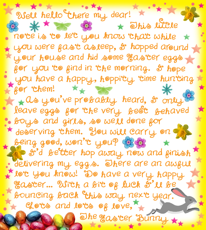 Dynamic image in letter from the easter bunny printable