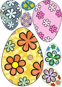 Printable flowery easter eggs - useful for scrapbooking and crafting.