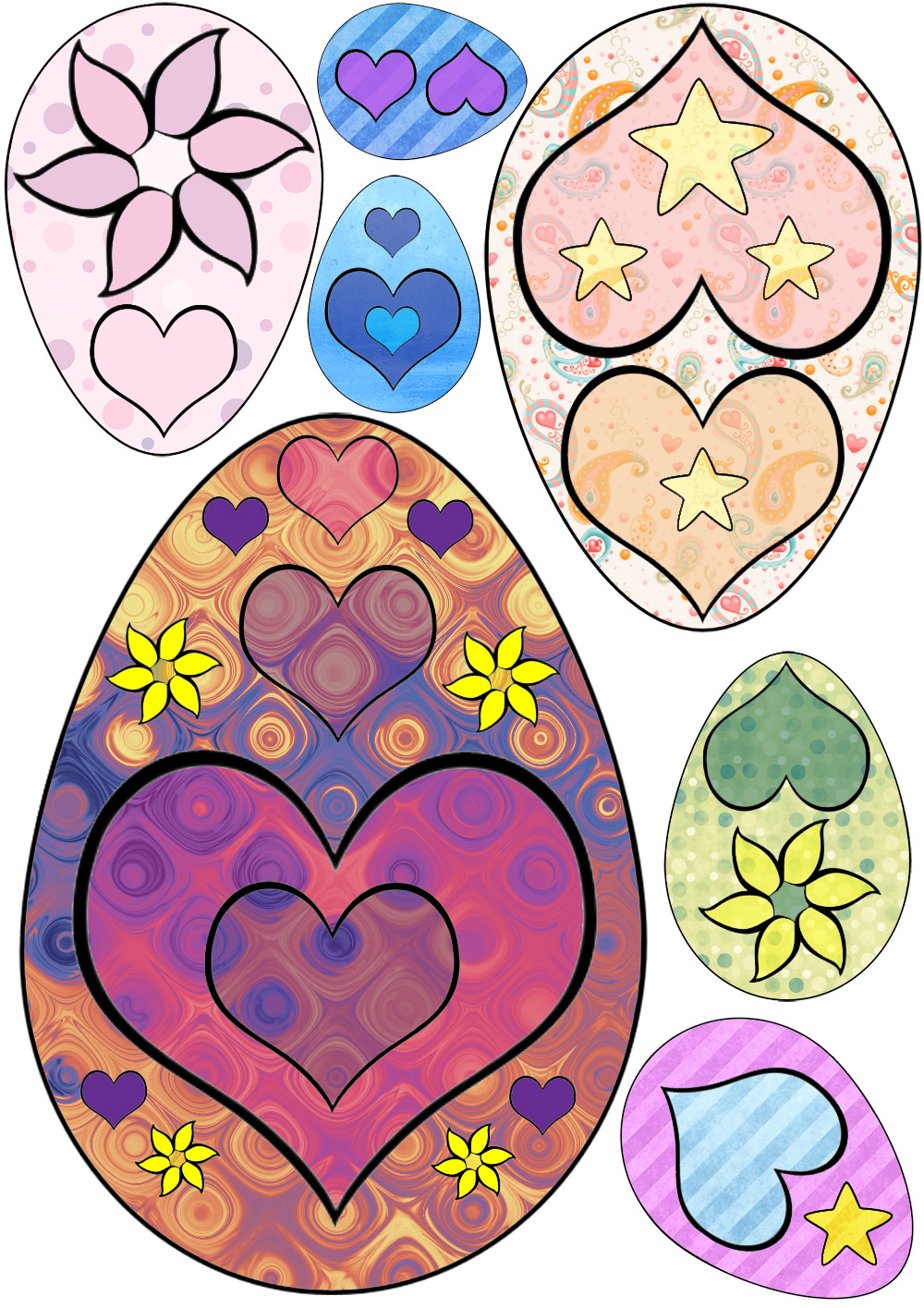 Easter eggs with a heart design, useful for Easter crafts.