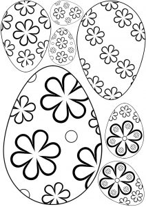 Flowery Easter eggs for kids to colour in