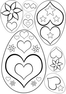 Easter egg templates with a heart pattern - great for kids to colour in