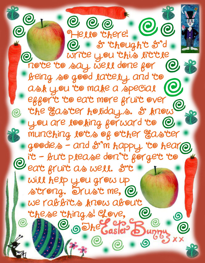 Note from the Easter Bunny encouraging a child to eat more fruit