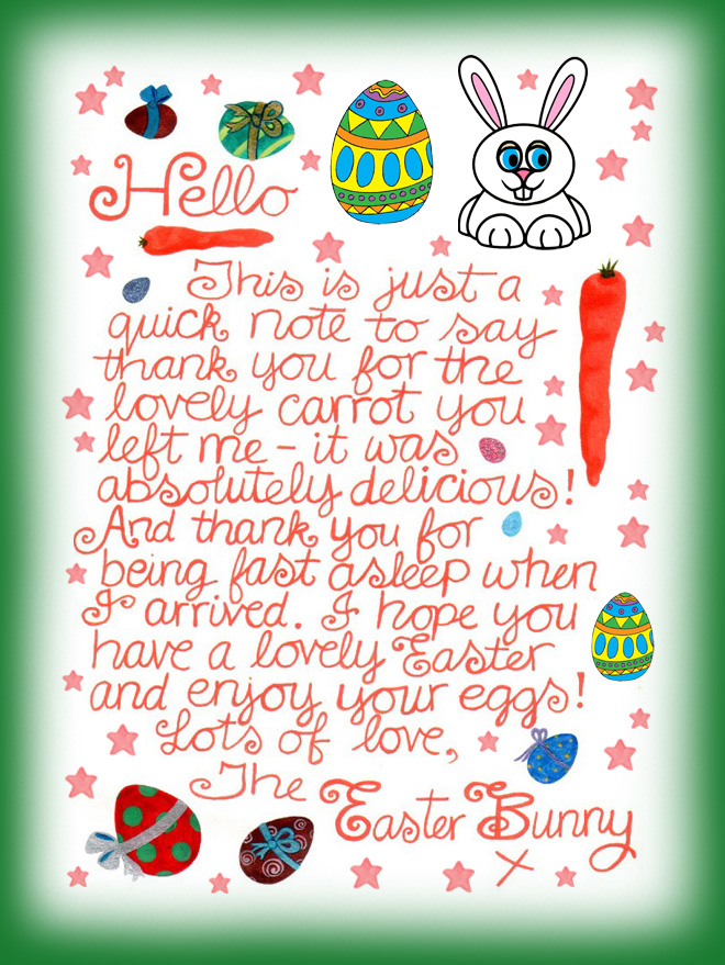 Note from the Easter Bunny saying thank you for the carrot you left him