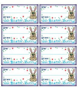 "Printable gift tags signed ""The Easter Bunny"""