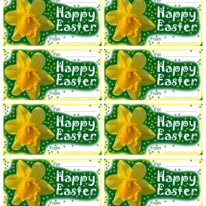 Printable Easter gift tags with a daffodil design