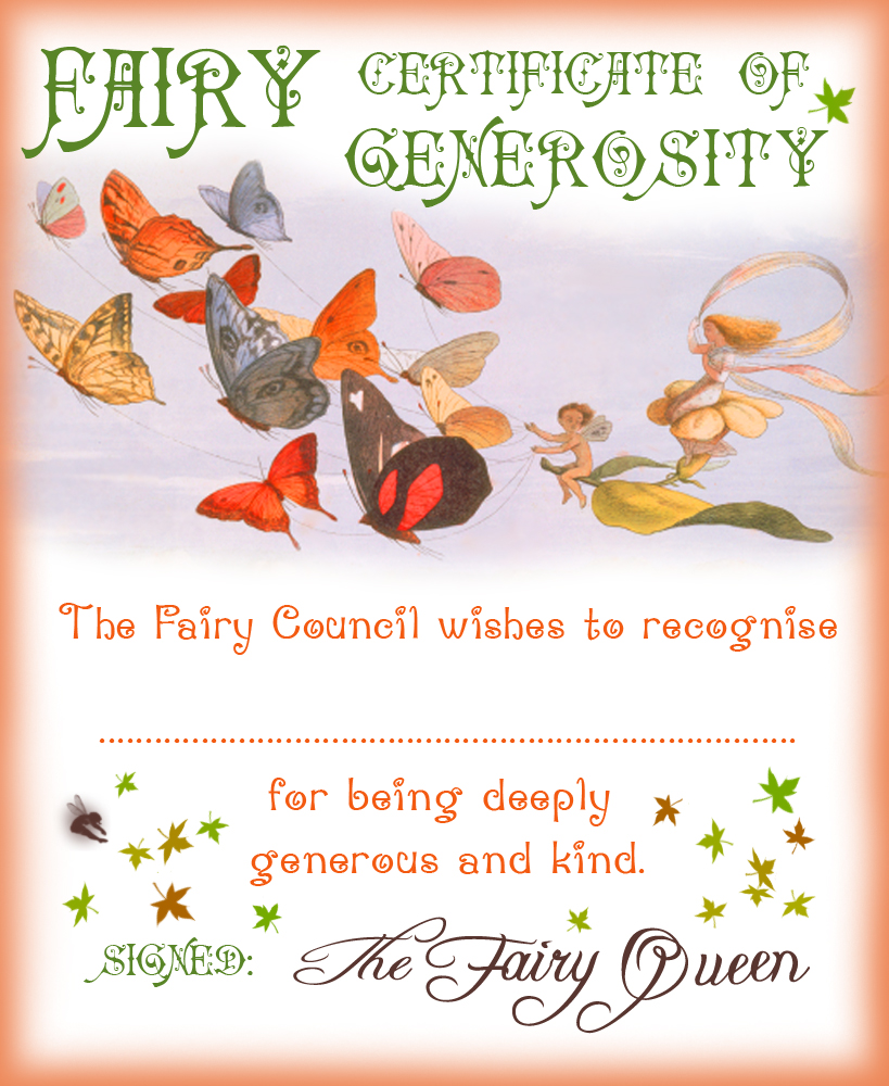 Free printable Fairy Certificate of Generosity for your child