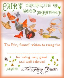 Printable Fairy Certificate for a child who has been good