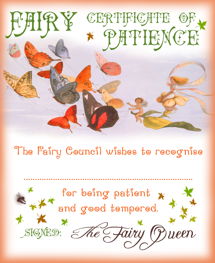 Fairy Certificate Of Patience Rooftop Post Printables