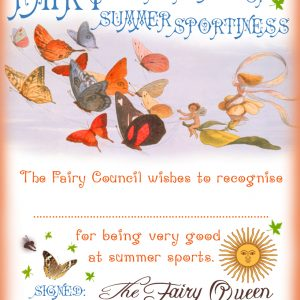 Free printable Fairy Certificate of Summer Sportiness for your child