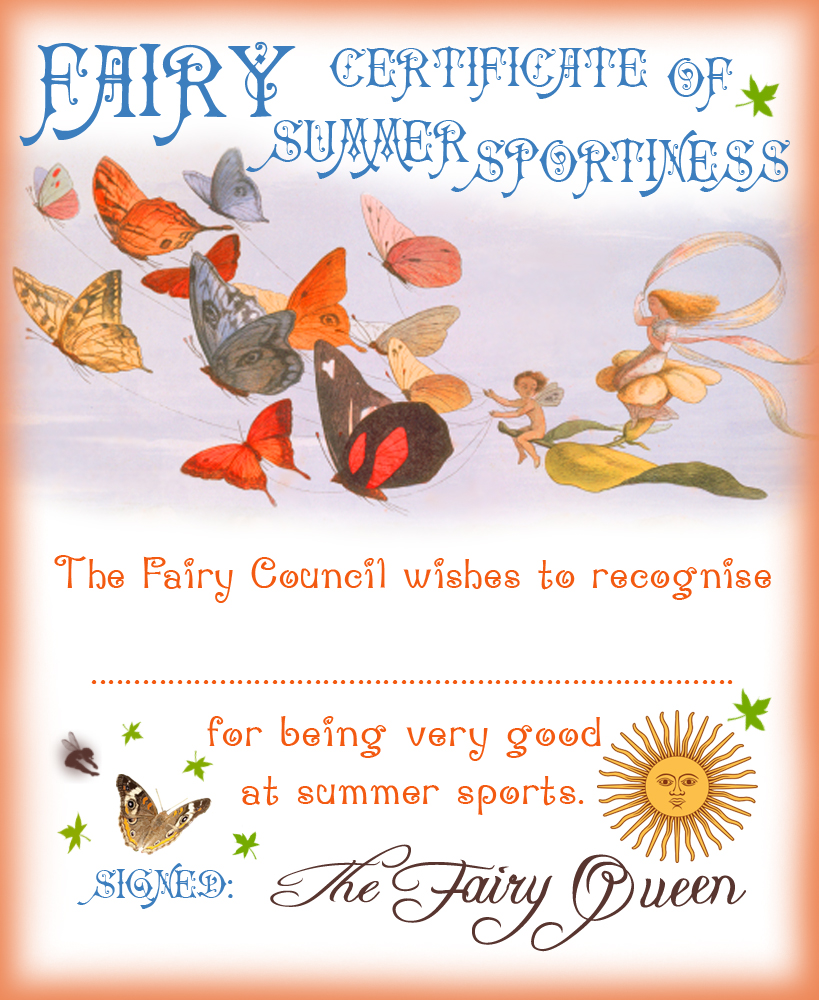 Fairy Certificate of Summer Sportiness | Rooftop Post ...