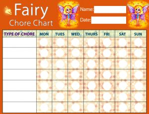 Printble Fairy Chore Chart for kids