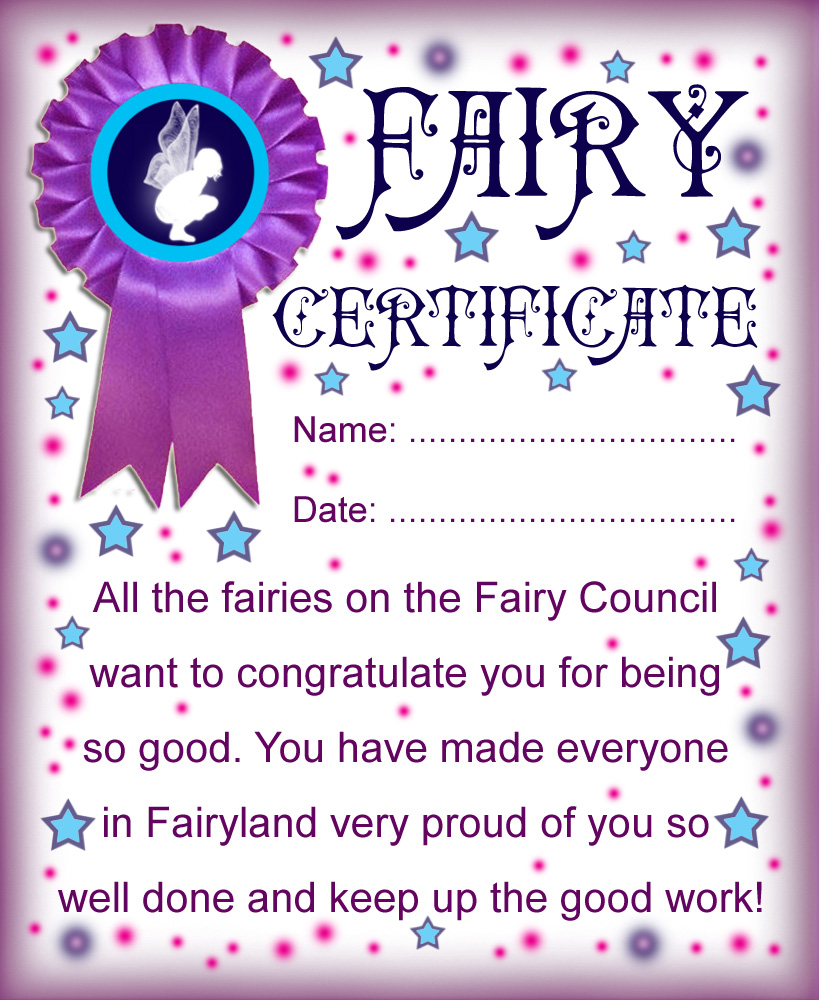 Printable fairy certificate well done for being good for Fairy letter ideas