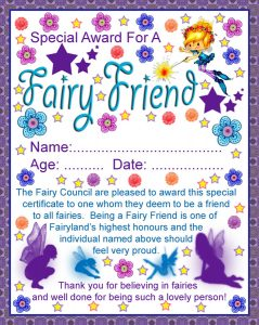 Print this certificate for a child who believes in fairies