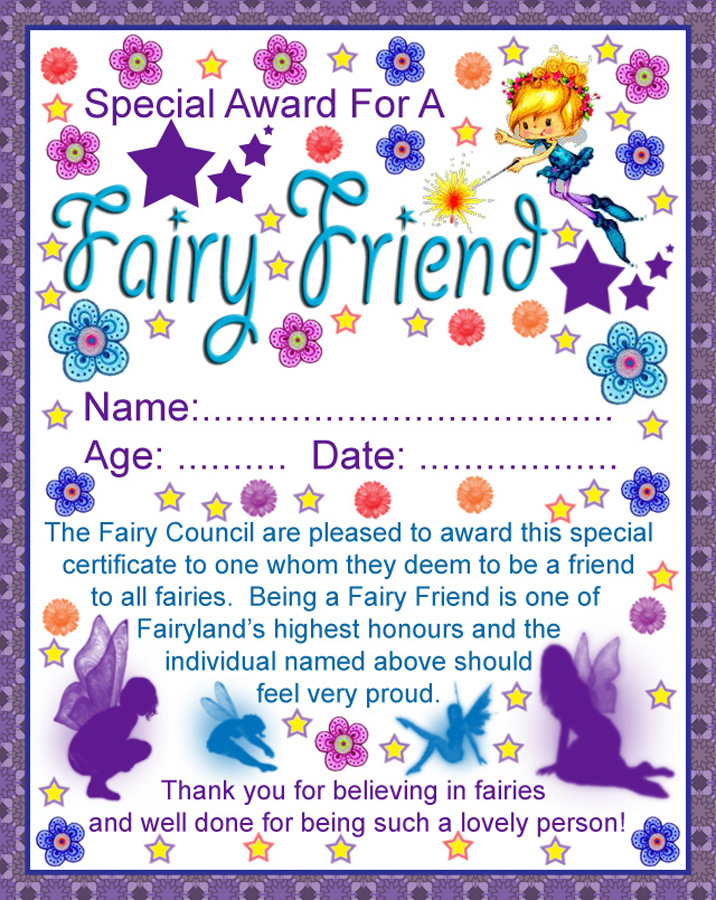 Fairy friend certificate rooftop post printables for Fairy letters to child