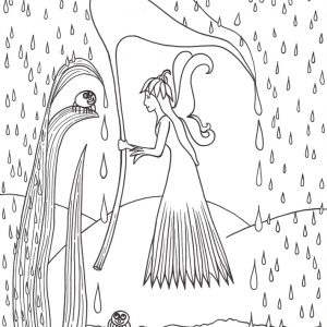 Colouring in page of a fairy sheltering from the rain