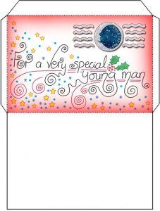 Printable Christmas Santa letter envelope for a boy
